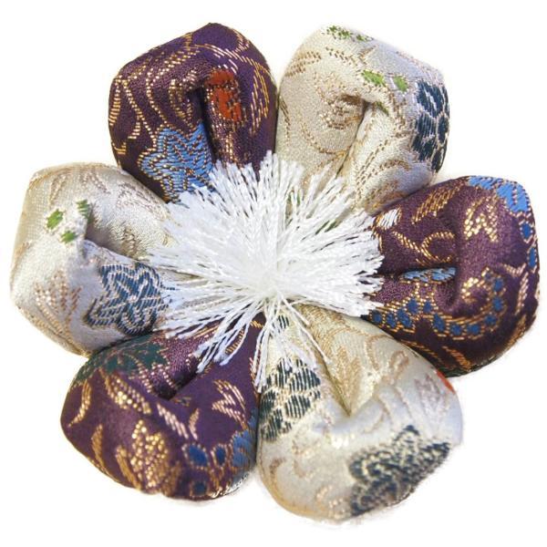 りん布団 国産 おりん用の 花型 リン座布団 さくら柄 葵三丁濃紫  9号 直径27cm