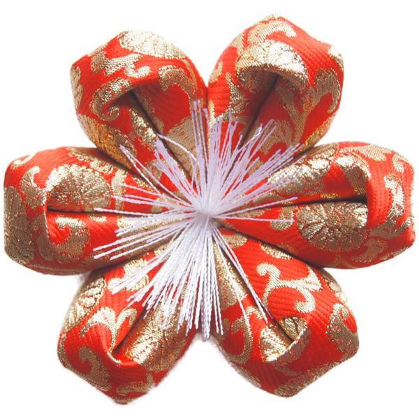 りん布団 国産 おりん用の 花型 リン座布団  (6号 直径18cm, 雅錦小柄 赤)