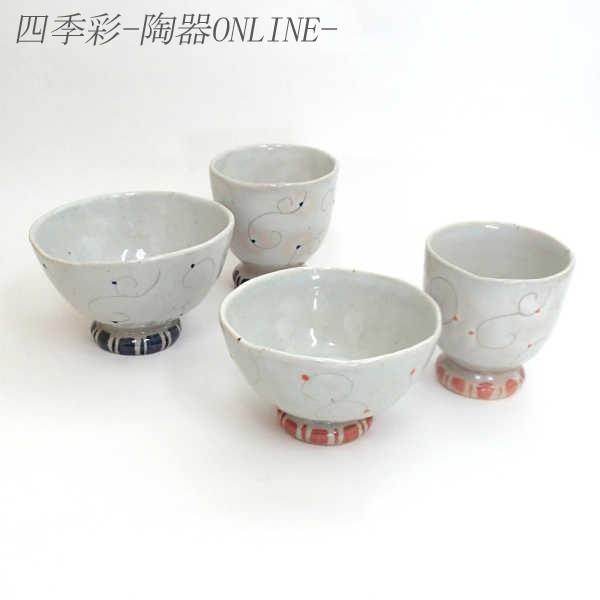 夫婦茶碗 夫婦湯のみ ギフトセット 春風 美濃焼 8y450-09-10-11-12|shikisaionline