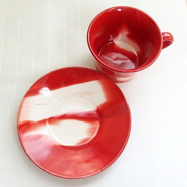 コーヒーカップ ソーサー マーブル 赤 和陶器 おしゃれ 美濃焼 業務用  9a778-18-6g shikisaionline 03