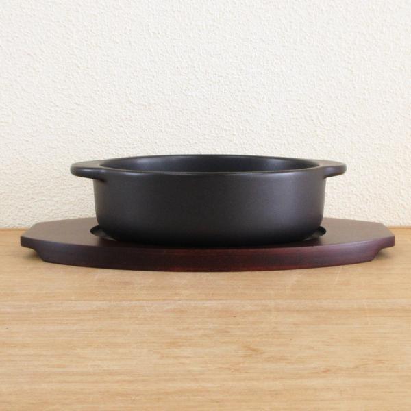 ドリア皿と敷台のセット 丸型 ブラックセラム 万古焼 アヒージョ 鍋 タパス皿 グラタン皿 9d71019-23|shikisaionline|02