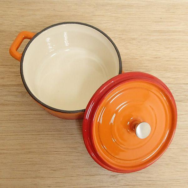 鉄製ココット鍋 ベイクオレンジ 18cm 鋳物鍋 ミニ鍋 チーズフォンデュ IH対応 直火対応 ks9954005|shikisaionline|02