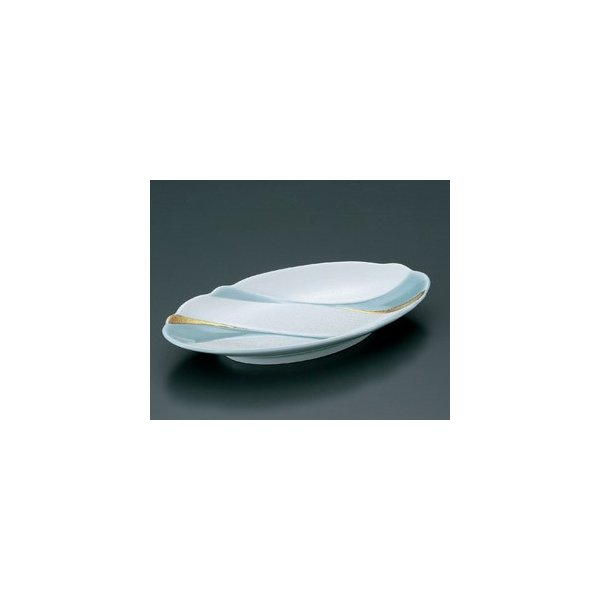 楕円皿 青磁パール金流水 焼物皿 23cm 和食器 業務用 有田焼 9d49602-718|shikisaionline