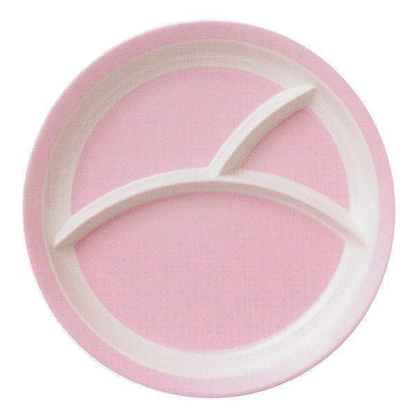 25.5cm 三つ仕切りランチプレート ピンク 皿 メラミン食器 km1004093|shikisaionline