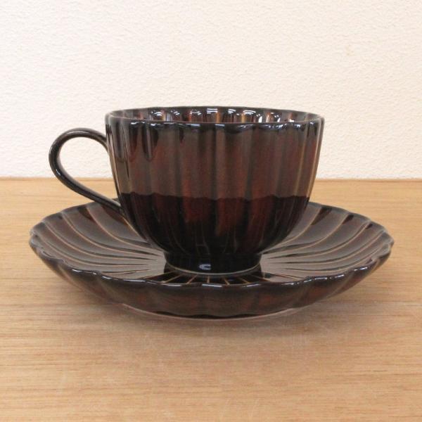 ぎやまん陶 コーヒーカップソーサー 漆ブラウン菊形 美濃焼 業務用 7a772-31-32|shikisaionline|02