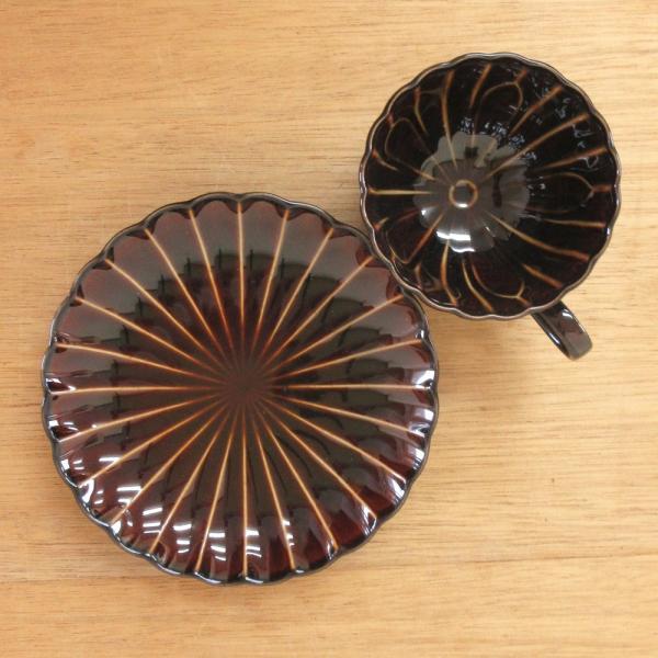 ぎやまん陶 コーヒーカップソーサー 漆ブラウン菊形 美濃焼 業務用 7a772-31-32|shikisaionline|03
