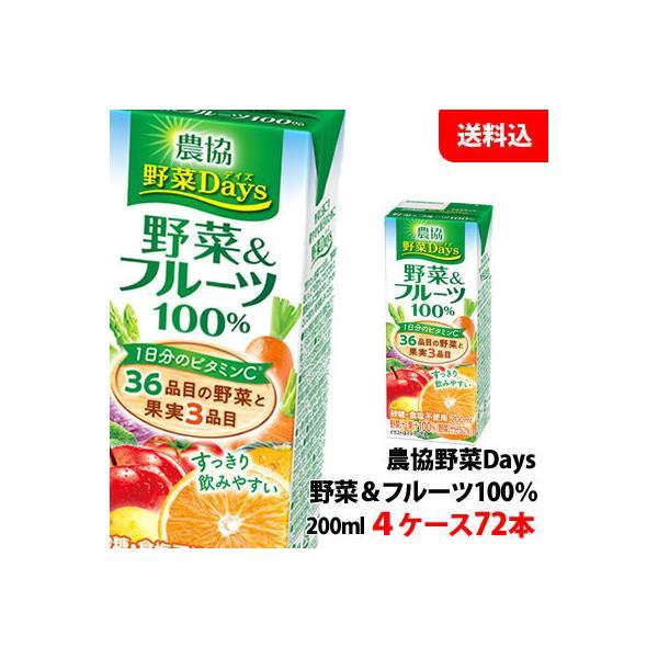 送料無料 雪印メグミルク 農協野菜Days 野菜&フルーツミックス 200ml 4ケース(72本)