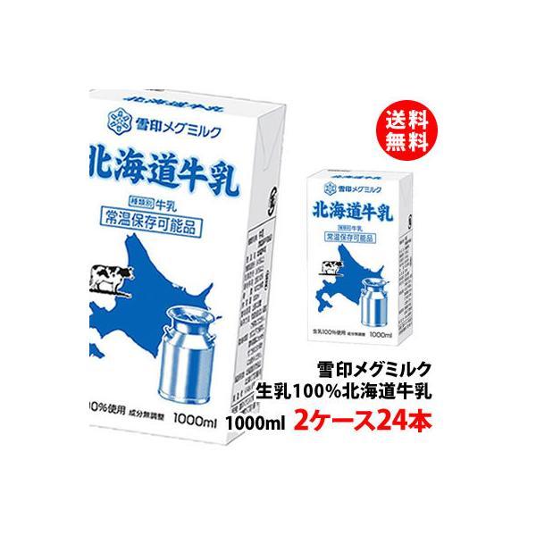 送料無料 雪印メグミルク 北海道牛乳 常温 1000ml 2ケース(24本) 生乳100% 常温 1L お取り寄せ