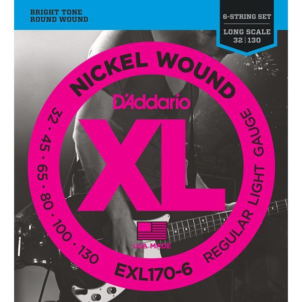 D'Addario ダダリオ EXL170/6 ベース弦 XL Nickel Round Wound Long Scale レギュラーライトゲージ 〔6弦用〕