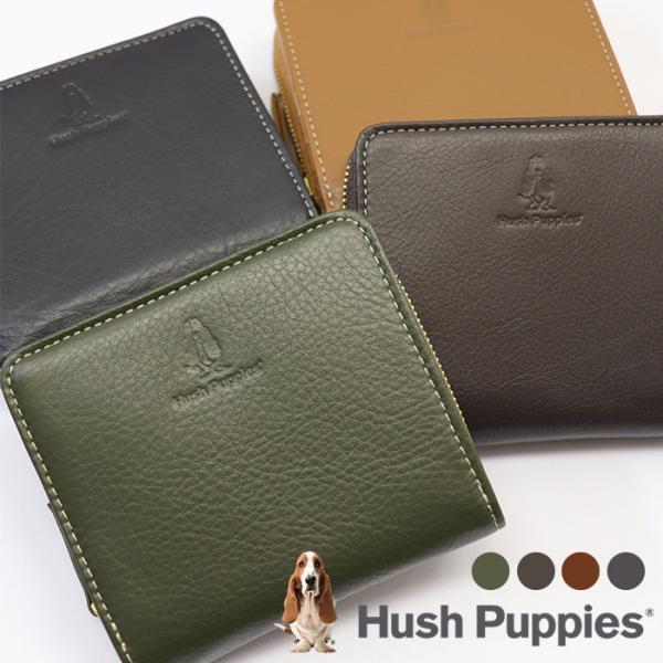 HushPuppies財布メンズ二つ折りブランドハッシュパピーHP0608ファスナー本革ギフトプレゼント誕生日プレゼント