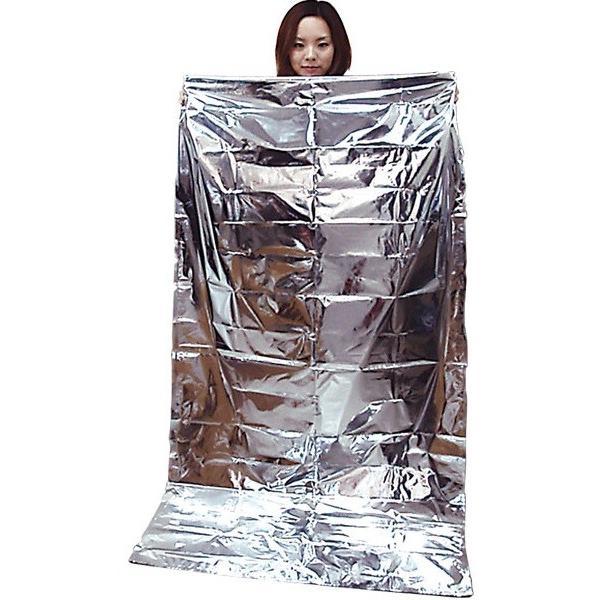 空気枕付 防災アルミ蒸着寝袋 BNB-180A (石崎資材)(簡易寝袋)