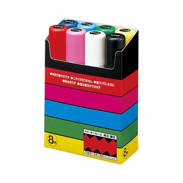 三菱鉛筆 ポスカ極太8色セット 黒・赤・青・緑・黄・桃・水色・白 PC17K8C ●10パックセット