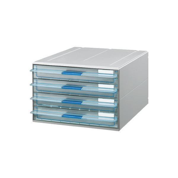 コクヨ レターケース UNIFEEL A4タテ 透明引き出しタイプ 浅型4段 LC−UNT104M ◆代引不可 ●10パックセット