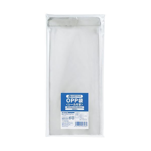 スマートバリュー OPP袋(シール付)長3 100枚 B626J−N3 ●10パックセット
