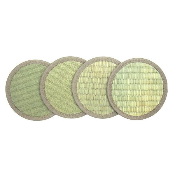 萩原 い草 座卓敷き 「座卓座布団 丸型」 グリーン 4枚組 約16X16 小物置き 花瓶敷き 144001050|shimizunet004|07