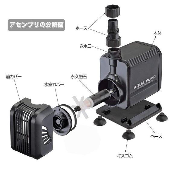 水中ポンプ,JoyKoo 超静音水陸両用水中ポンプ、4つの強力な吸引カップシーウォーターポンプ、吐出量2500L/H 最大揚程2.5M ミニ|shimizunet004|08