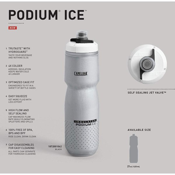 CAMELBAK(キャメルバック) ポディウムアイス 自転車用保冷保温ボトル 保冷効果4倍 エアロジェル採用 620ml(21oz) ホワイ|shimizunet004|03