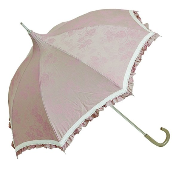 ルミエーブル プティローズ 全7色 折りたたみ傘 手開き 日傘/晴雨兼用 ピンク 8本骨 50cm UVカット 木製ハンドル 0104-10