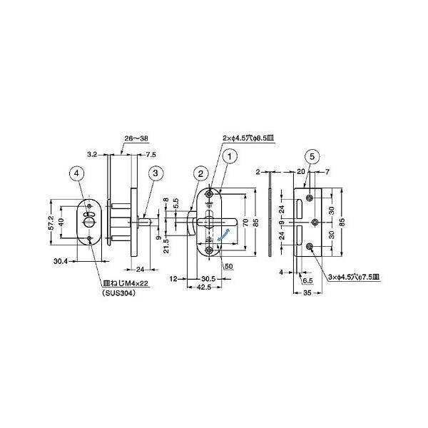 スガツネ工業 ランプ印 ステンレス鋼製引戸面付カマ錠 (表示器付) HHC-85|shimizusyouten01|02