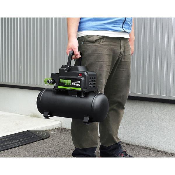 ミナトワークス オイルレス型エアーコンプレッサー (100V/タンク容量8L) CP-8A|shimizusyouten01|02