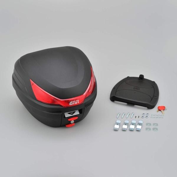 GIVI(ジビ)イタリアブランド モノロックケース(トップケース/リアボックス) 未塗装ブラック 容量27L 汎用ベース付き ストップランプ|shimizusyouten01