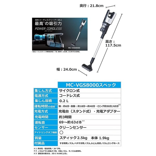 パナソニック(Panasonic) サイクロン式 スティッククリーナー パワーコードレス MC-VGS8000-W (ホワイト)|shimizusyouten01|02
