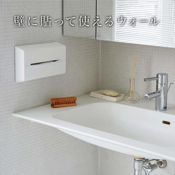 イデアコ ティッシュケース 壁に貼って使えるウォール ホワイト|shimoyana|02