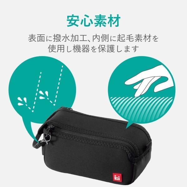 エレコム ビデオカメラケース ネオプレン 開きやすいダブルファスナー Lサイズ ( 参考収容寸法:175×90×80mm ) ブ