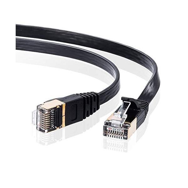 サンワサプライ CAT7ウルトラフラットLANケーブル (1m) 10Gbps/600MHz RJ45 ツメ折れ防止 ブラック KB-FLU7-01BK|shimoyana