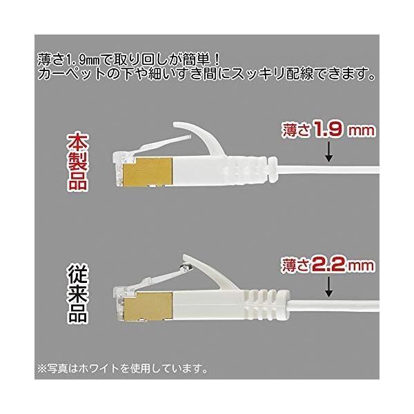 サンワサプライ CAT7ウルトラフラットLANケーブル (1m) 10Gbps/600MHz RJ45 ツメ折れ防止 ブラック KB-FLU7-01BK|shimoyana|04
