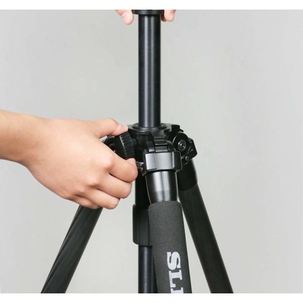 SLIK カーボン三脚 ライトカーボン E83 3段 ナットロック式 28mmパイプ径 3ウェイ雲台 クイックシュー式 108314