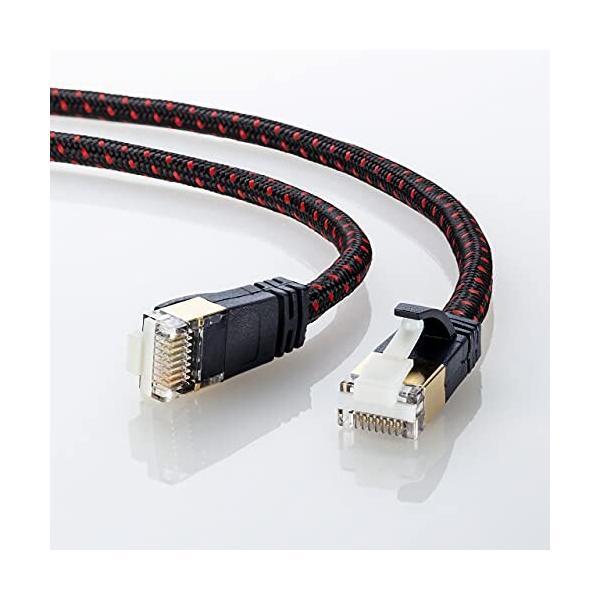サンワサプライ CAT7細径メッシュLANケーブル (0.5m) 10Gbps/600MHz RJ45 ツメ折れ防止 ブラック&レッド KB-T7ME-005BKR|shimoyana