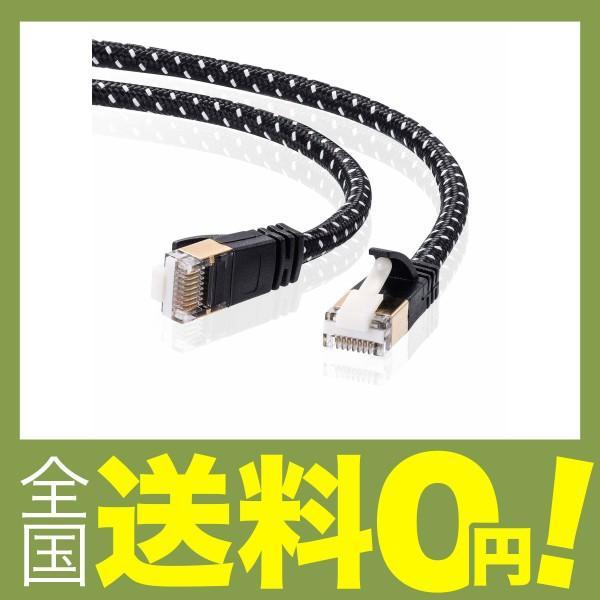 サンワサプライ CAT7細径メッシュLANケーブル (1m) 10Gbps/600MHz RJ45 ツメ折れ防止 ブラック&ホワイト KB-T7ME-01BKW|shimoyana