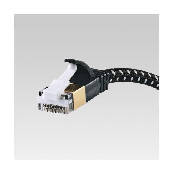 サンワサプライ CAT7細径メッシュLANケーブル (1m) 10Gbps/600MHz RJ45 ツメ折れ防止 ブラック&ホワイト KB-T7ME-01BKW|shimoyana|08