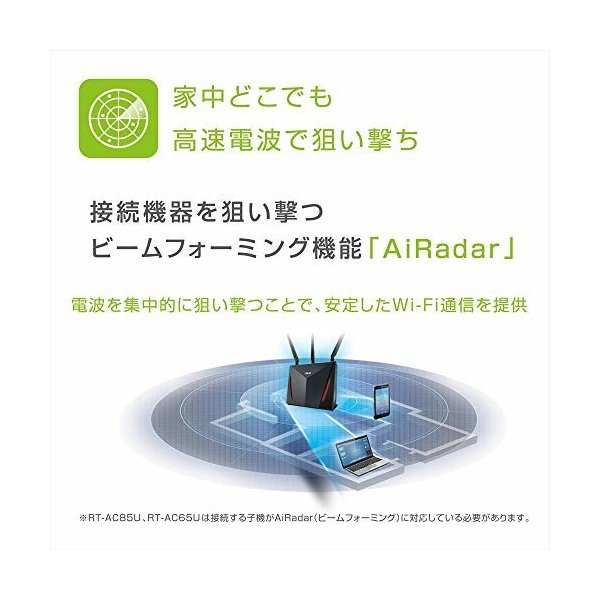 ASUS  1734+800Mbps(11a/b/g/n/ac)  スタイリッシュなデュアルバンドギガビットWi-Fi高速無線ルーター RT-AC85U(利用目安環 shimoyana 04