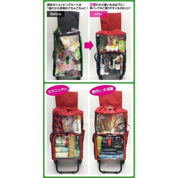 COCORO(ココロ) ショッピングカート 折りたたみ (保冷保温機能) キャリー 軽量 バッグ2層式 フラワー ネイビー 45