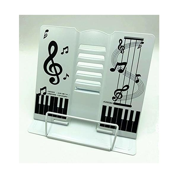 かわいい折りたたみ卓上の譜面台 書見台としても 角度調節可能 (白)