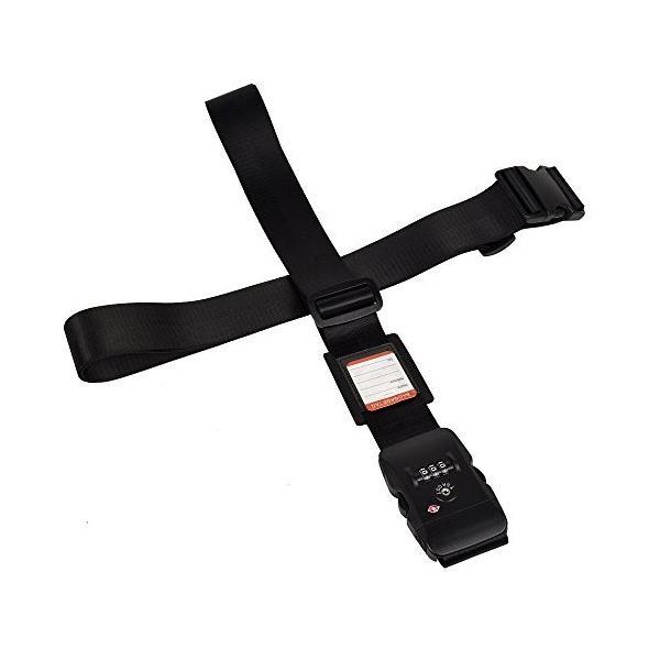 クロース(Kroeus)スーツケースベルト TSAロック ネームタグ 2個セット 十字 長さ調整可 トランクベルト 一字