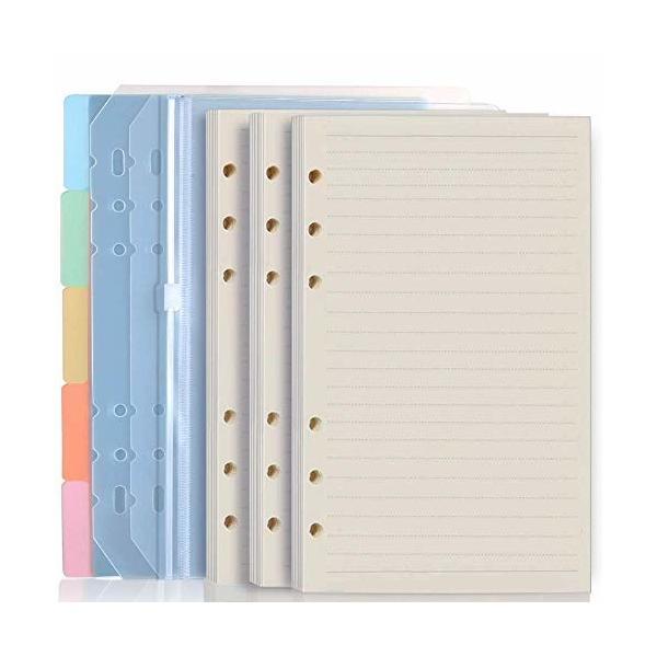 LEOBROシステム手帳リフィル 手帳リフィル a5 リフィル 横罫 PP製カラーインデックス リフター ファスナーポケ