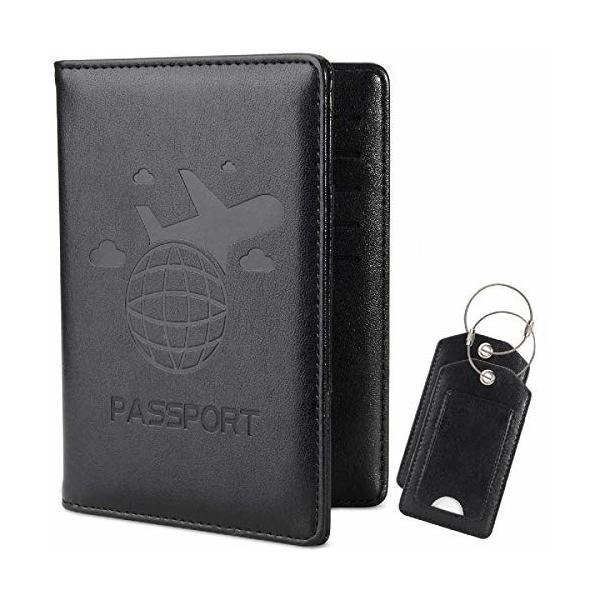 takyu 2点セット ラゲージタグ パスポートケース スキミング防止 安全な海外旅行用 PUレザー パスポートカバー