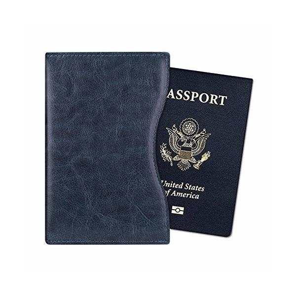 Fintie パスポートケース ホルダー RFIDスキミング防止 ラベルウォレット 安全な海外旅行用 高級PUレザー 軽量