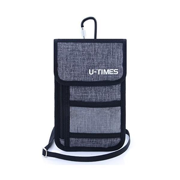 (ユ-タイムズ)U-TIMES スキミング防止 パスポートケース ネックポーチ 海外旅行グッズ iPhone 7 Plus収納可 セキュ
