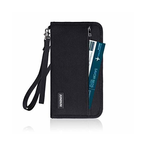 パスポートケース JUNDUN スキミング防止 パスポートケース 首下げ チェーン付き パスポートバッグ 男女兼用