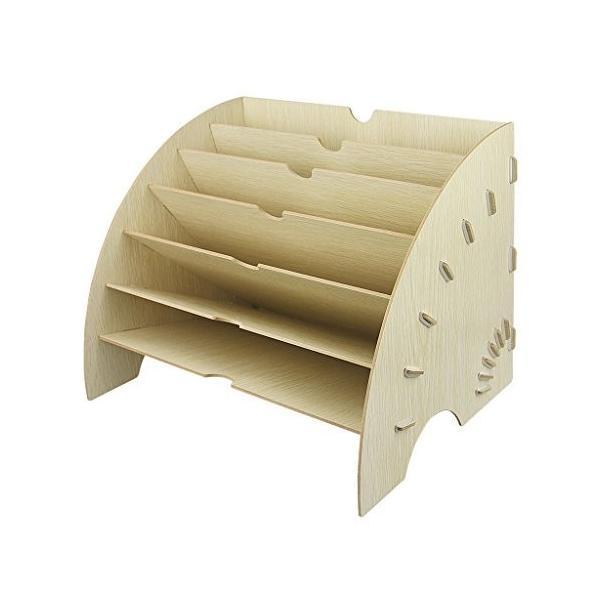 ファイルボックス 木製 書類トレー レターケース 扇形 本立て ファイルスタンド a4資料 雑誌 新聞 書類入れ 多