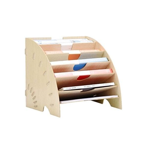 マガジンファイル 木製 デスクトレー 扇形 おしゃれ 本棚 A4サイズ 横置き 組立式 仕切り ファイルラック 机上