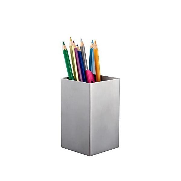 IMEEA ペン立て ペンスタンド 方形 ステンレス製 卓上収納 文具ケース シルバー (S)