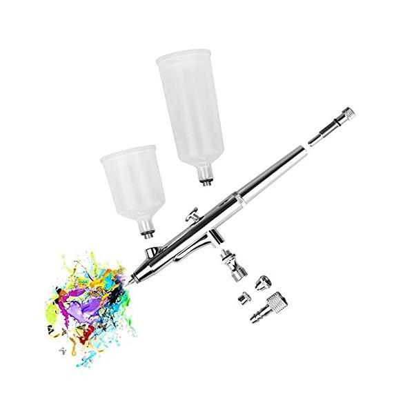 エアブラシ ハンドピース ダブルアクション 0.3mm口径 エアーブラシキット 大容量カップ プラモデル 塗装工具