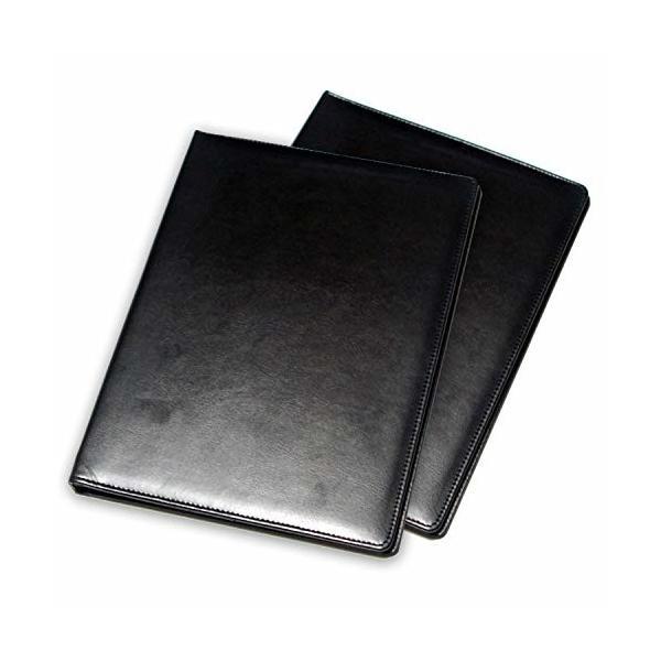 Trust Contact レザー クリップボード A4 バインダー 革 ファイル 二つ折り 多機能 おしゃれ ビジネス (ブラック 2