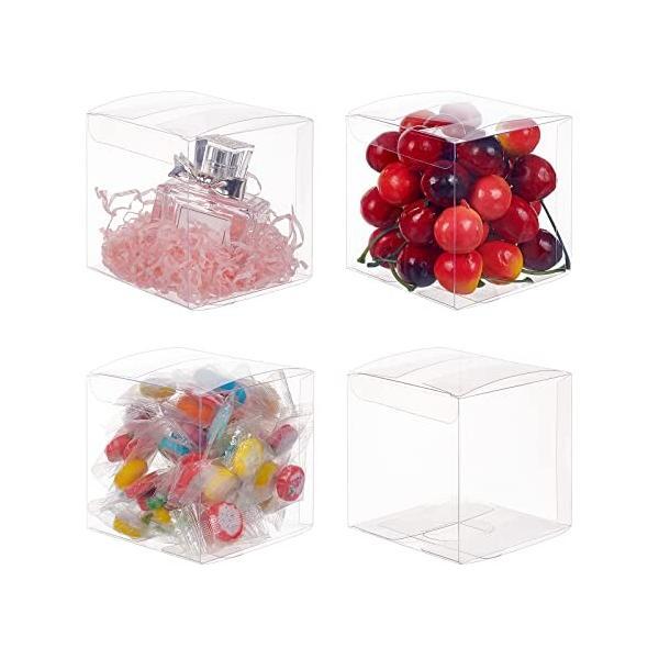 BENECREAT 30個セットPVC透明プラスチックケース 9x9x9 折り畳みボックス ボタン 小物入れ クリアギフトボックス