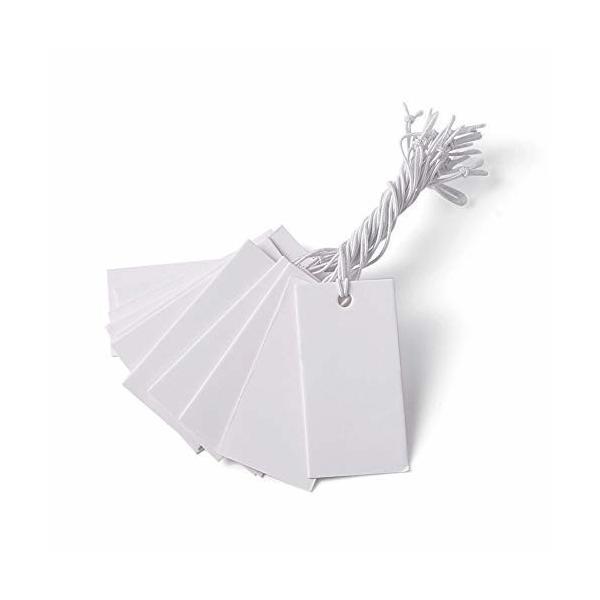 Beadthoven 100枚入り 白い長方形 荷札シール 値札 糸付き タグ スーパー提札 糸付き手製のカード 下げ札 無地 メ